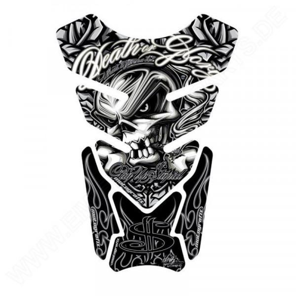 Motografix Death or Glory - Pay Up Stupid Silver / Black 3D Gel Tankpad Protector ST086K