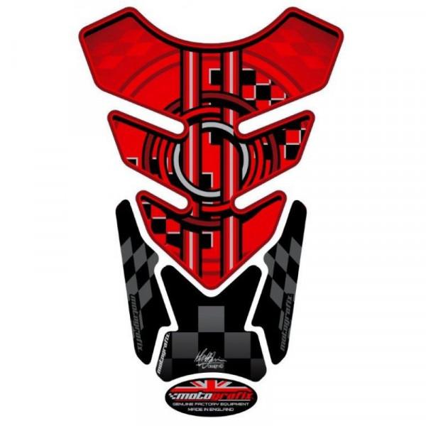 BMW Style Red / Black Universal 3D Gel Tank Pad Protector Motografix TB001R