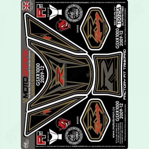 Motografix Racing Suzuki GSX-R 1000 3D Gel Tank Pad Protector TS025A